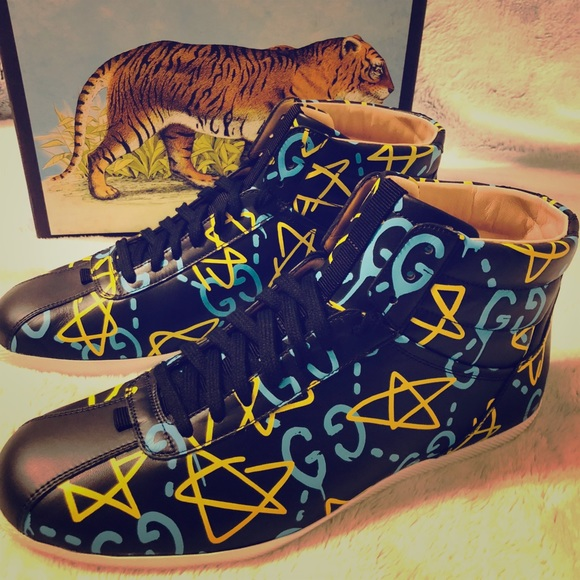 9b5987da39d Gucci Ghost High Top Leather Sneakers